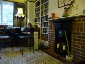 Diana Glyer writes in the Common Room at The Kilns