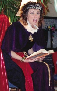 Sara Davis, as Queen Helen, Reads to Visitor's at the Library's Opening Celebration